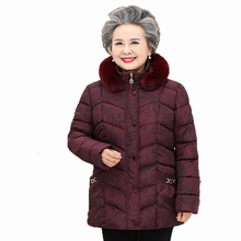 Elderly Women Winter Warm Parkas Fur Hooded Puffer Basic Coats Grandma Mother Hood Quilted Outerwear Red Blue Green Overcoat Mom