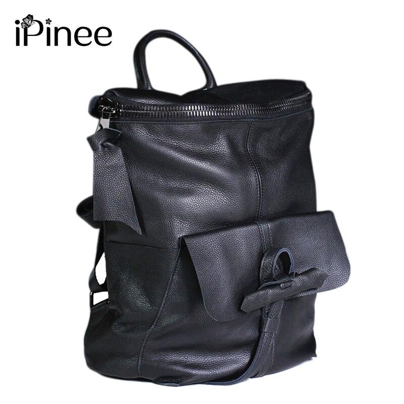 IPinee แฟชั่นหนังวัวแท้กระเป๋าเป้สะพายหลังผู้หญิงคุณภาพสูงโรงเรียนกระเป๋าสำหรับวัยรุ่นหญิงกระเป๋าเป้สะพายหลัง-ใน กระเป๋าเป้ จาก สัมภาระและกระเป๋า บน   1