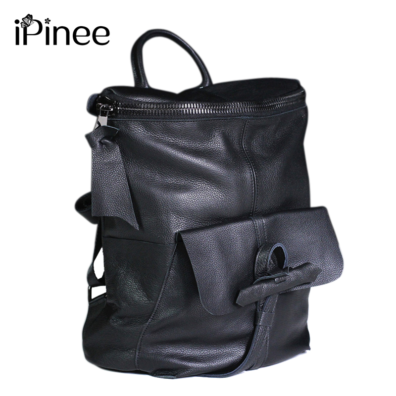 IPinee Fashion Designer Cow Genuine Leather Women Backpack High Quality School Bags For Teenagers Girls Female Travel BackPack