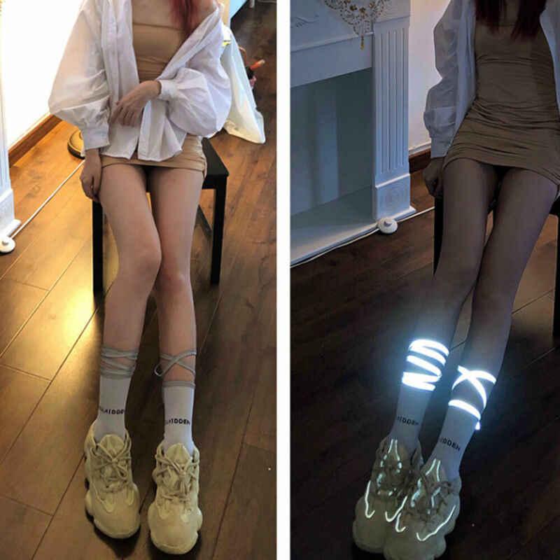 Gadis Wanita Cahaya Stoking Campuran Panjang Garis Stoking Soild Mewah Diterangi Tali Pesta Fashion Halloween