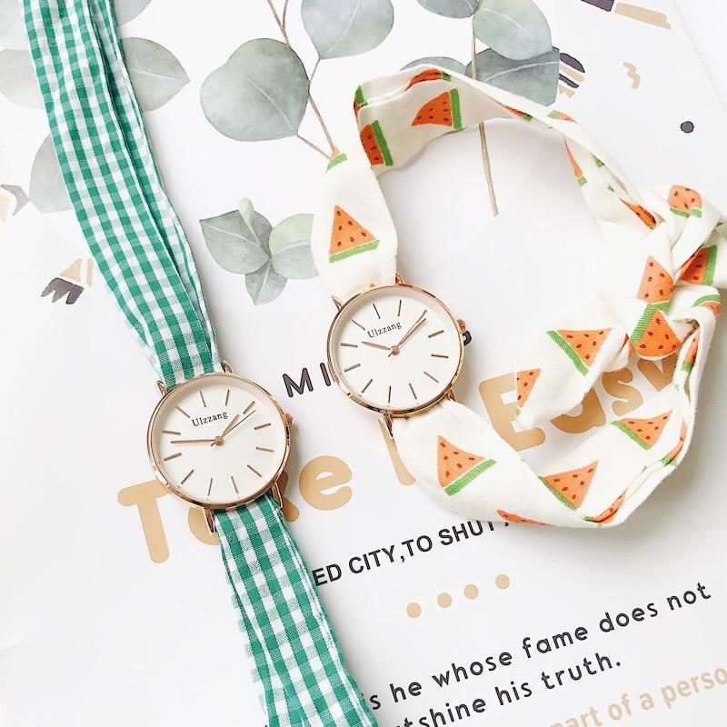 Plaid And Watermelon Bandage Women Fashion Casual Watches 2019 Ulzzang Brand Designer Elegant Ladies Simple Quartz Wristwatches