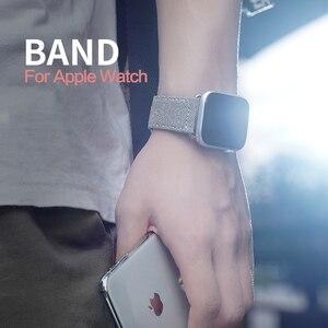 Image 2 - Модный тканевый и кожаный ремешок для Apple Watch 38 мм 42 мм Браслет для Apple iWatch 40 мм 44 мм Серия 1 2 3 4 5 ремешок для часов