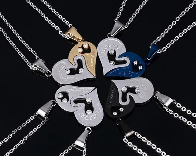 Modyle homens corrente de aço inoxidável coração preto amor colares para casais coreano senhoras moda na moda emparelhado suspensão pingente