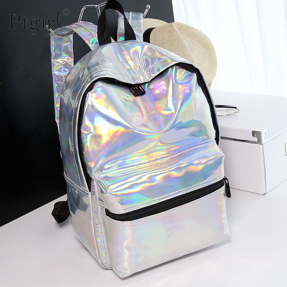 2019 Silver Holographic Women Backpack Fashion Hip-hop Laser Backpacks Ptgirl School Bag For Cool Girl Teenager Mochila Escolar