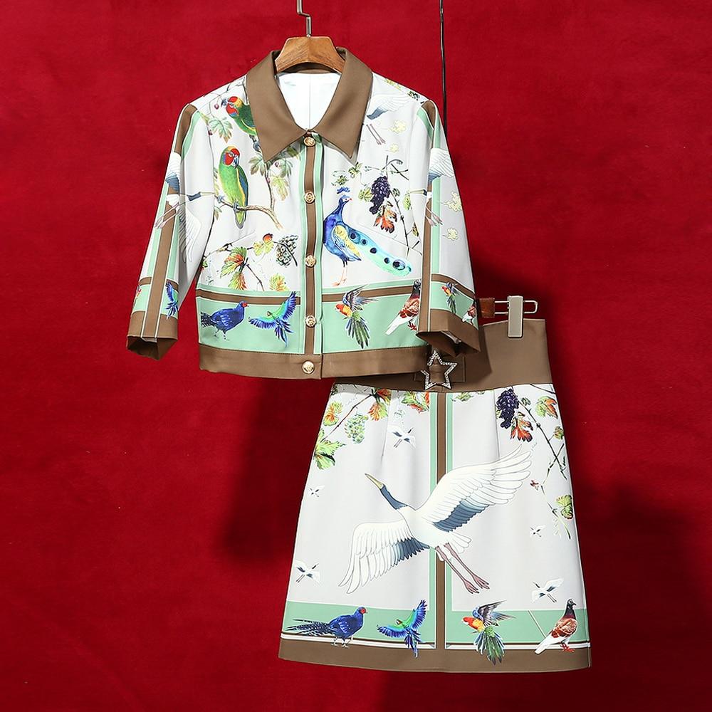 Red roosarosee 디자이너 가을 봄 여성 빈티지 2 피스 세트 버드 프린트 쇼트 자켓 코트 + 다이아몬드 스타 스커트 정장 twinset-에서여성 세트부터 여성 의류 의  그룹 1