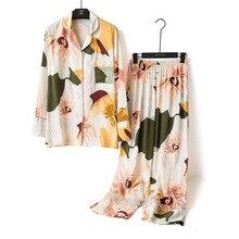 ربيع 2020 جديد السيدات الأزهار المطبوعة الساتان سترة + السراويل 2 قطعة مجموعة النساء ملابس خاصة مجموعة كاملة الأكمام رقيقة Homewear للإناث