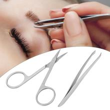 Пинцет 2 шт ножницы для бровей Набор пинцетов ресницы ножницы для стрижки волос инструмент для макияжа пинцеты для бровей