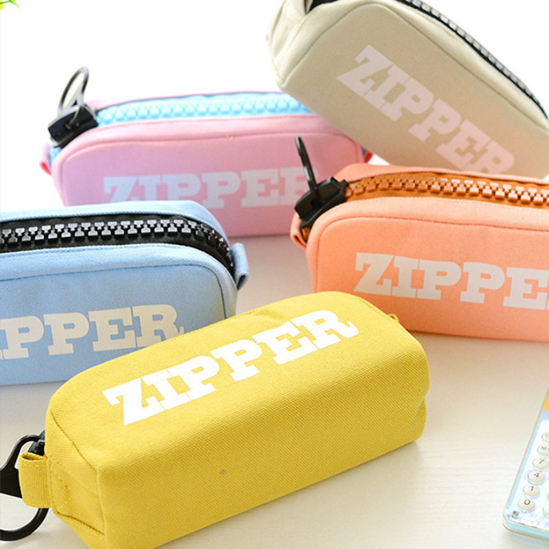 Big Zipper Canvas Pencil Case High Capacity Pencil Bag Simple School Stationery Pencilcase For Kids Boys Girls Pen Box Supplies