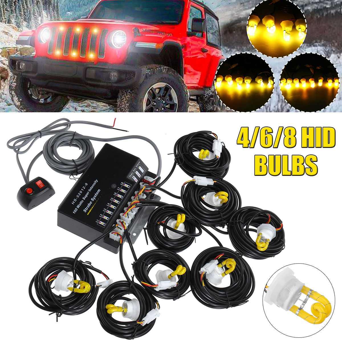 12V HID ampoules Kit de phare voiture cacher loin avertissement de danger d'urgence clignotant Kit de système de lumière stroboscopique E03676