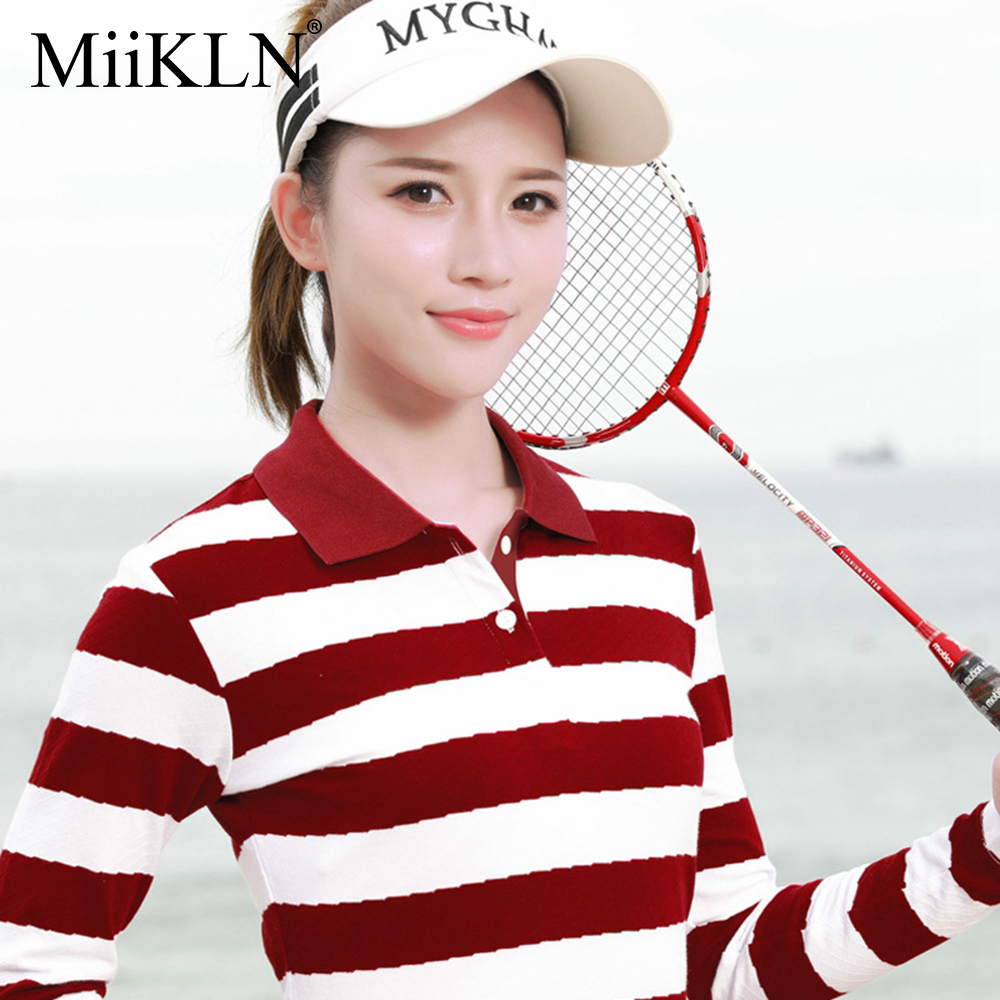 MiiKLN Women Blue Pink Red Green Oversized Striped Polo Shirts For Women Collared Long Sleeve Cotton Golf Ladies Polo Shirt