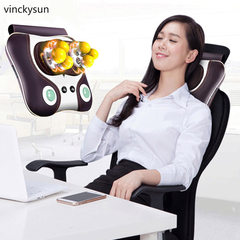 Electric Infrared Neck Massager Pillow Shiatsu Cushion Massage Neck Back Waist Body Heating Kneading Massage Pillow in Massage Relaxation from Beauty Health