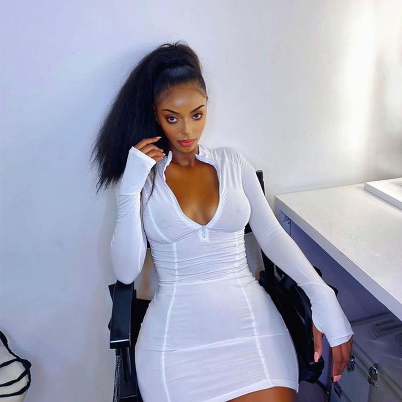Женское осеннее повседневное облегающее платье на молнии с длинным рукавом, спортивная одежда для фитнеса, облегающее короткое платье мини...