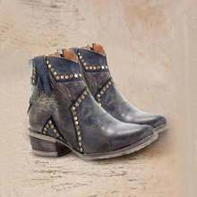 Ankle Boots for Women Pu Leather Vintage Gladiator Shoes Woman Ladies Spring/Autumn  Square Heel  Motorcycle Boots Combat C71