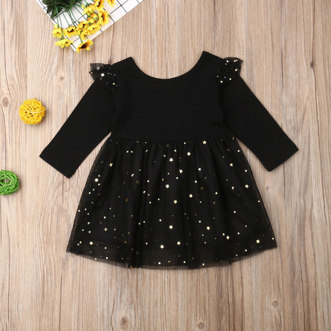 Kids Baby Flower Girls Party Sequins Dress Wedding Bridesmaid Dresses Ages 1-5Y Solid Color Sequined Long Sleeve Stitching Pakistan