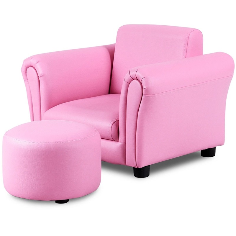 Multi-function Kids Sofa Chairs Single Armrest Couch Sofa With Ottoman Bed Room Furniture HW54198