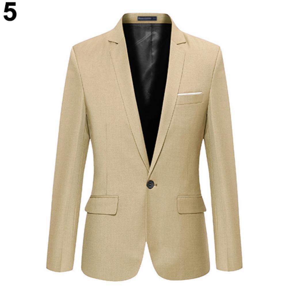Men Fashion Slim- Fit Formal One Button Suit Blazer Coat Jacket Outwear Top