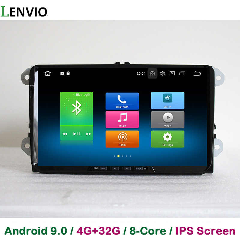 Lenvio ips ram 4g + 32g octa núcleo android 9.0 carro dvd jogador gps para skoda vw volkswagen universal golf 5 6 polo passat cc tiguan
