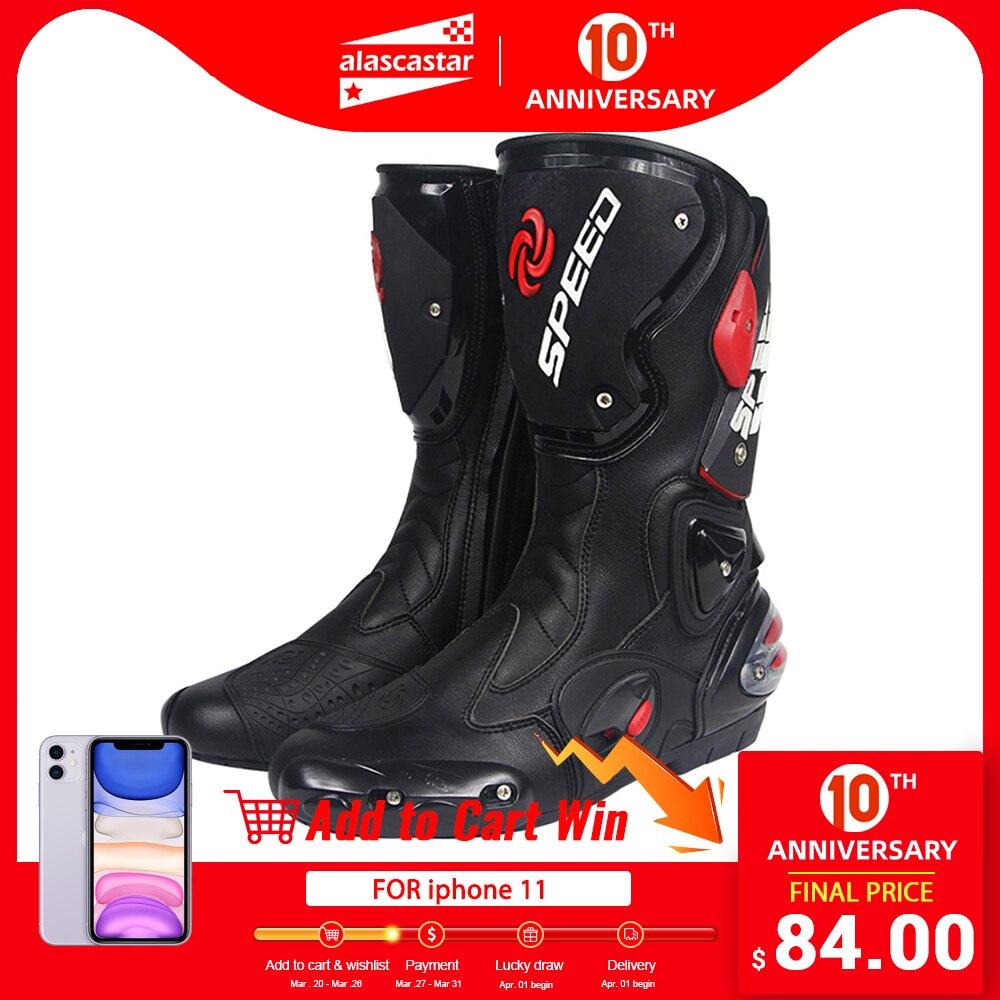 Pro-motociclista velocidade motociclistas botas de moto de corrida de motocross fora de estrada sapatos de moto botas de equitação
