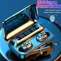 F9-9 TWS Wireless Bluetooth Earphone Touch control 9D Stereo Headset with mic Sport Earphones Waterproof Earbuds LED display