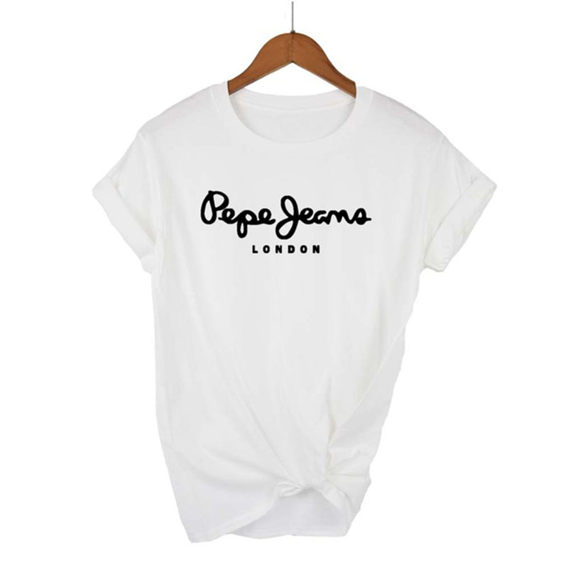 2021 Newest Pepe-Jeans-London Logo T-Shirt Summer Women's Short Sleeve Popular Tees Shirt Tops Unisex