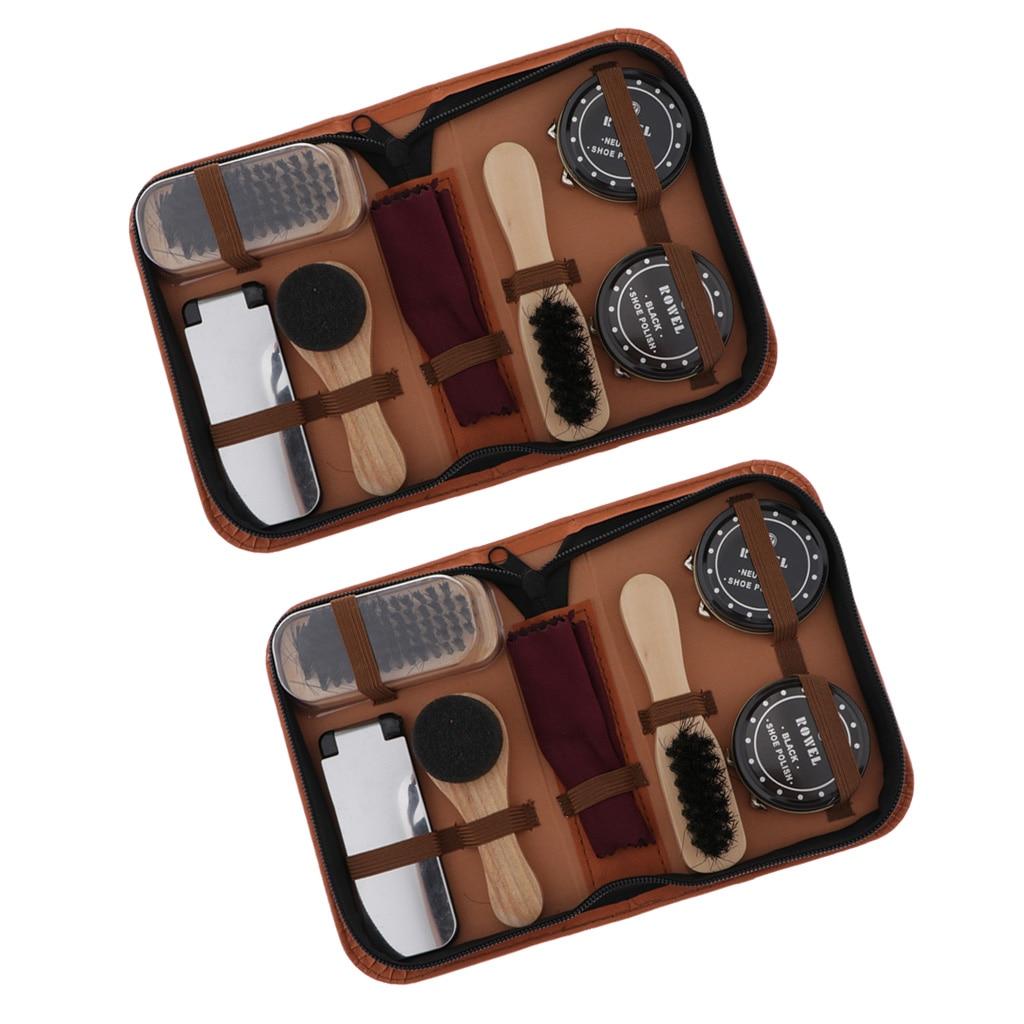 2x Shoe Shine Care Kits With Storage Case Shoehorn Shoe Polish Shoe Brush