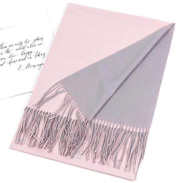 Bufanda de Cachemira de doble cara para mujer, pañuelo cálido para la cabeza, chales y envoltorios, manta de Pashmina suave de dos colores, Foulards, 2020