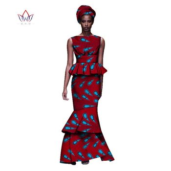 2020 New African Dresses For Women Dashiki Ladies Clothes Ankara O-Neck Africa Clothes Two Pieces Set Natural 6xl None WY1054 - 24, 6XL
