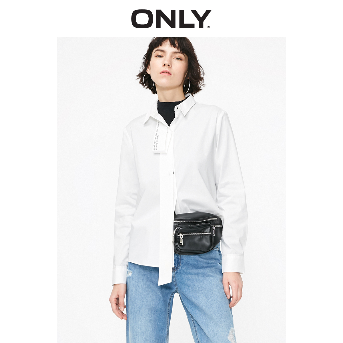 ONLY  Women's Loose Fit Letter Ribbons White Long-sleeved Shirt | 119105528