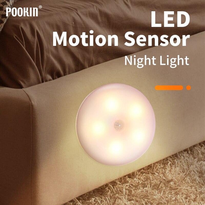 LED Motion Sensor Light USB Rechargeable Night Light Magnetic Stair Lamp Wall Lights For Hallway Bathroom Bedroom Kitchen