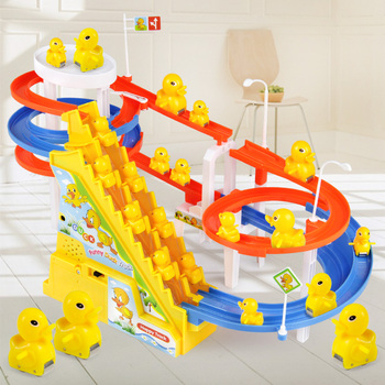 DIY track pig Toy Figures Racing Track rail car electric music climbing stairs childrens toys Educational kids railway