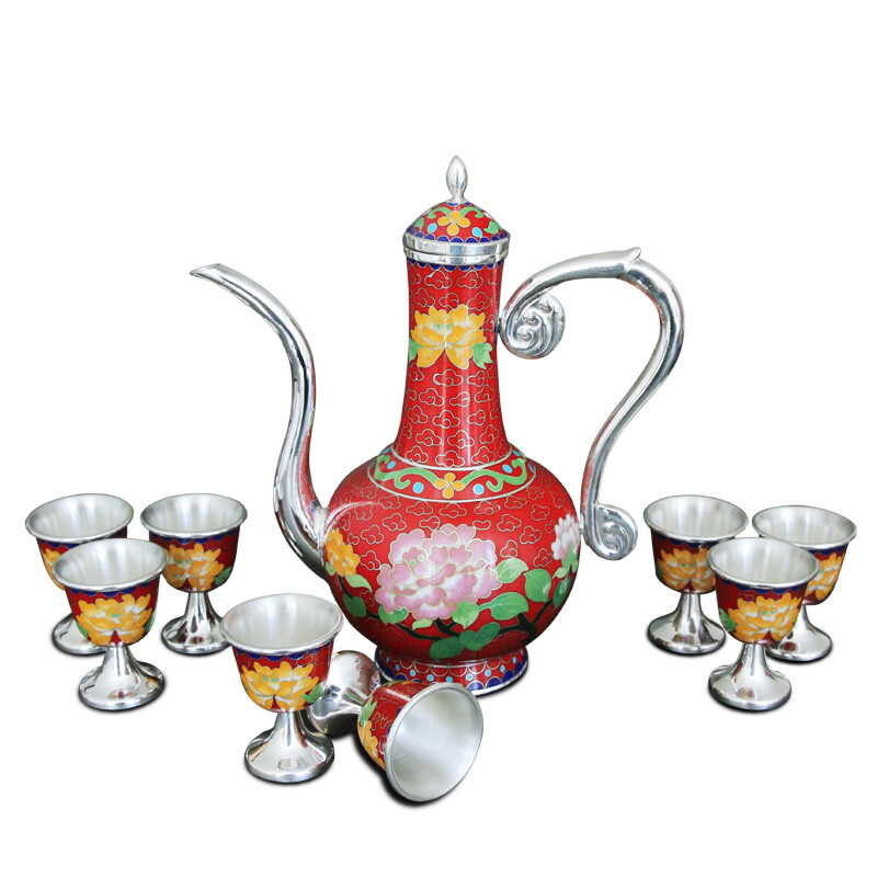 Chinese Style S999 Sterling Silver Cloisonne Sterling Silver Jug ​​wine Glass Gift