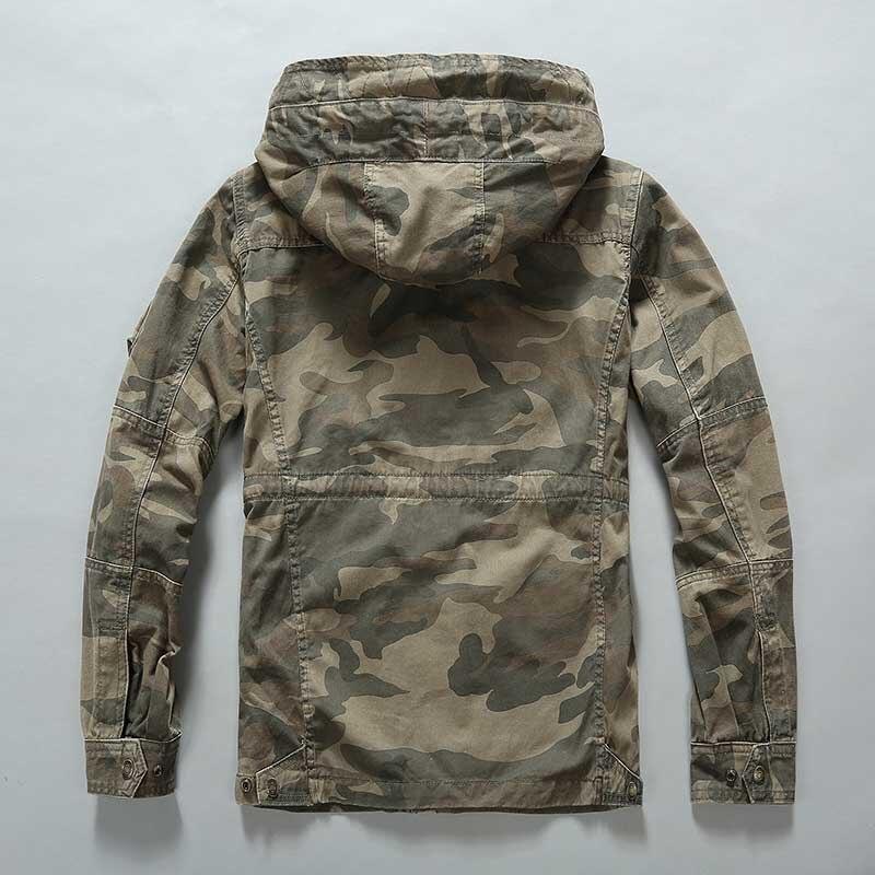 Уличная камуфляжная куртка мужская повседневная Военная куртка с капюшоном и пальто Модная ветровка армейский кардиган мужская одежда - 2