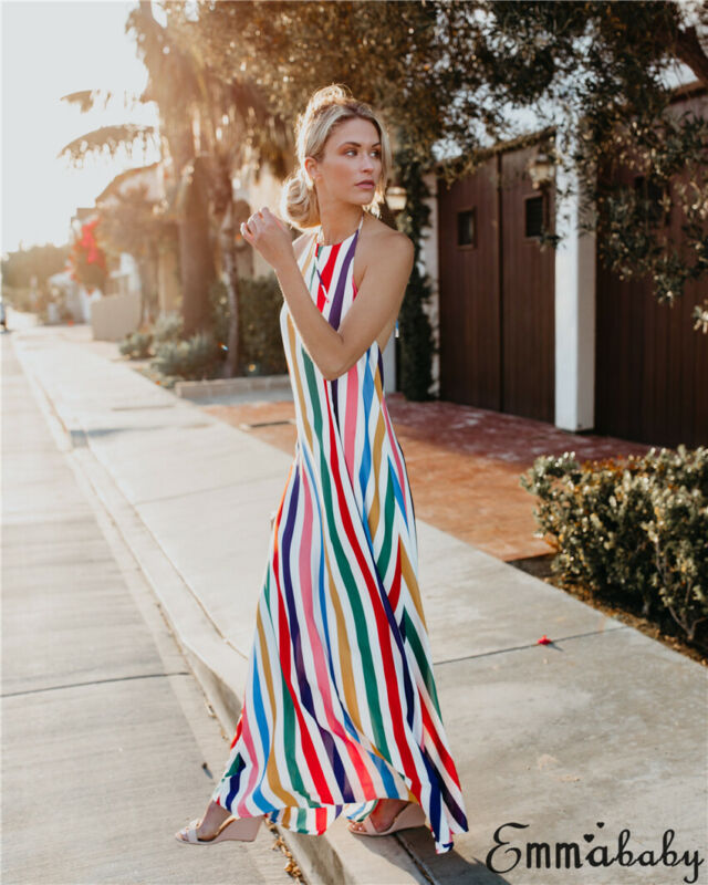 Hirigin Women Summer Multi-Colored Striped <font><b>Halter</b></font> <font><b>Dress</b></font> <font><b>Sexy</b></font> Sleeveless Backless Rainbow Casual Party Beach Slit Long <font><b>Dresses</b></font> image