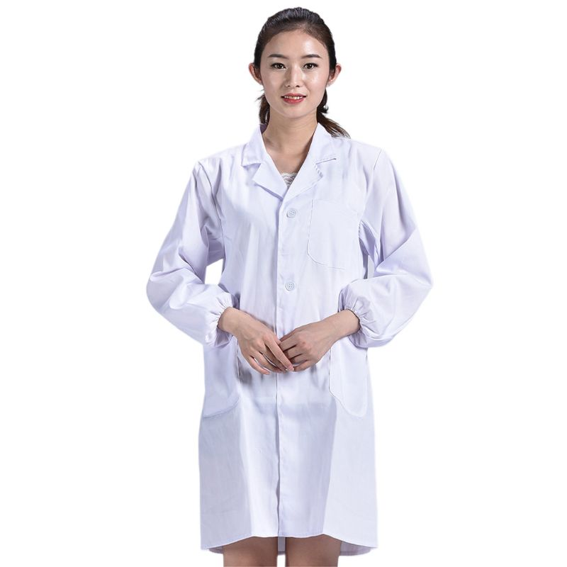 2019 New Unisex Long Sleeve White Lab Coat Lapel Collar Button Down Medical Doctor Blouse