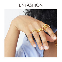ENFASHION Punk Curved Rings For Women Gold Color Stainless Steel Smooth Simple Ring Fashion Jewelry Classic 2020 Anillos R204055
