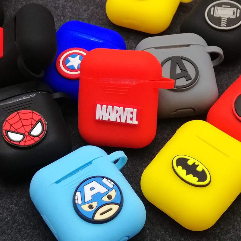 Marvel Spiderman Superman Wireless Earphone Airpods Case Cover Bag For Apple AirPods1/2 Black Red Batman Bluetooth Headset Box