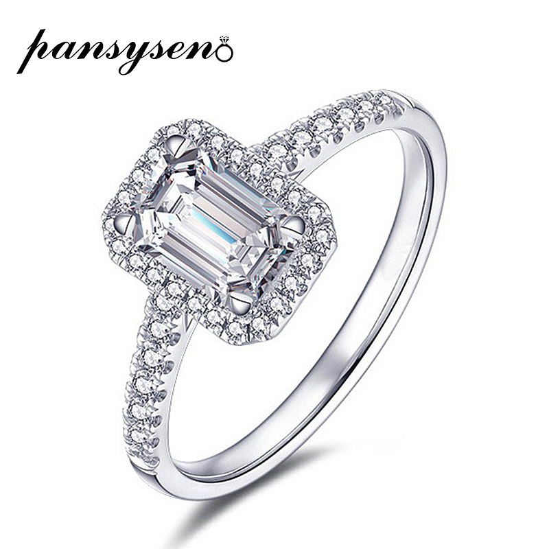 PANSYSEN Emerald cut 925 Sterling Silver Created Moissanite Ring Wedding Engagement Gemstone Rings For Women Wholesale jewelry