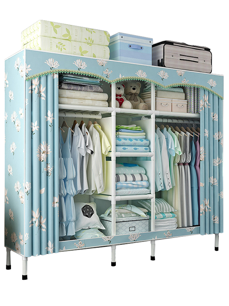 Wardrobe Simple Cloth Wardrobe Steel Pipe Thickening Reinforcement Thickening Assembled Steel Frame Fabric font b Closet