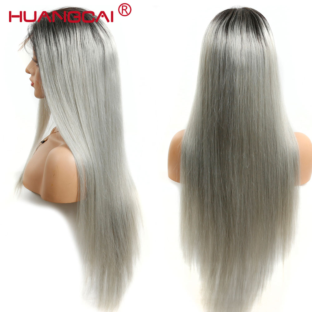 Peruvian 1B/Grey Lace Front Human Hair Wigs Pre Plucked With Baby Hair 13*4 Ombre Grey Lace Front Wigs 2 Tone Silver Remy Hair