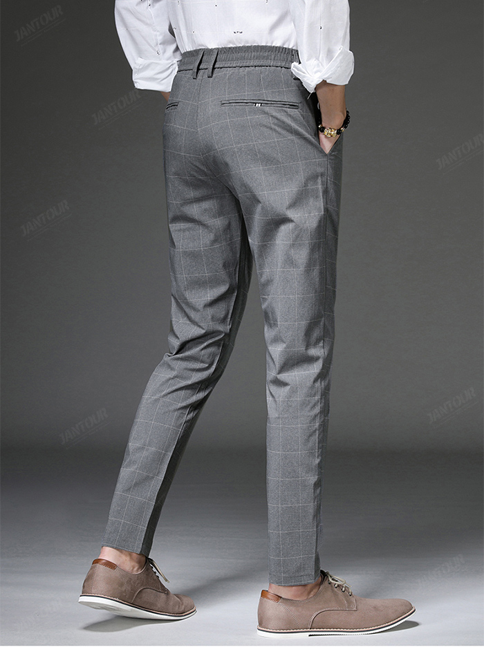 Jantour 2020 Spring New Casual Pants Men Slim Fit Plaid Fashion Gray black Trousers Male Brand Clothing business work pant 28-38 59