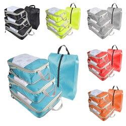 New 4Pcs Waterproof Portable Clothes Storage Bag Set Folding Closet Organizer Pillow Quilt Blanket Bag Organizer For Travel|Składane torby do przechowywania|Dom i ogród -