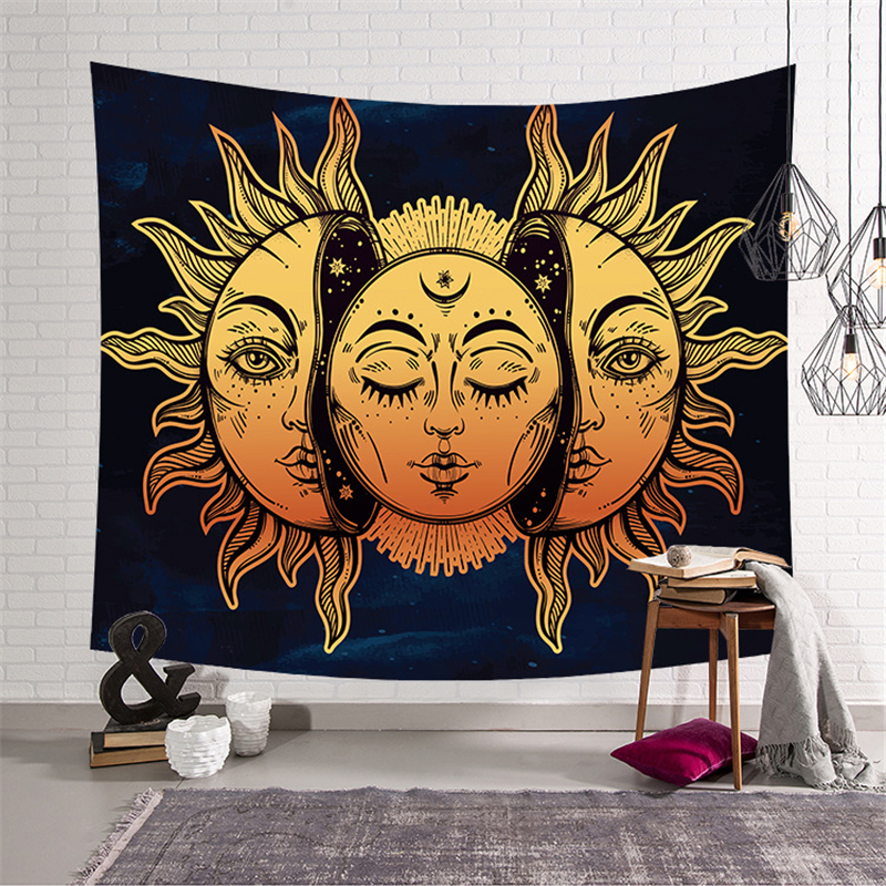 Sun Moon Tapestry Mandala Wall Hanging Tapestry Map Psychedelic Carpet Ouija Wall Tapestries Polyester Fabric Wall Cloth Carpet