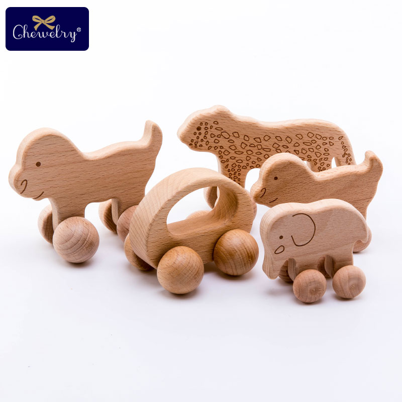 Puzzle Toys Wood Teether Beech Wooden Dog Car Cartoon Wooden Toys Grasping Teething Toys Toddler For Kids Goods Teethers Blocks