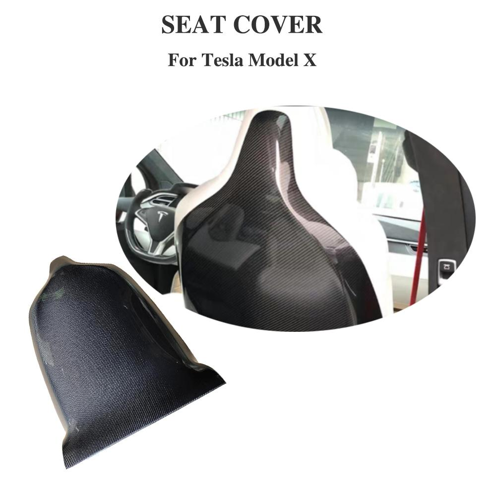 Carbon Fiber Seat Back Cover Trims Interior For Tesla Model X Carbon Seat Cover Trim  2018 2019 Car Styling
