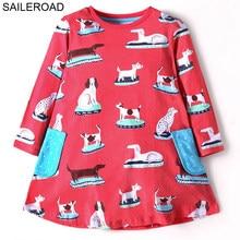 VELEIRO Crianças Bolso Manga Comprida Vestido Animal Cão das Crianças vestidos para meninas Vestido de Princesa para o Outono As Crianças Se Vestem