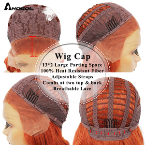 Image 4 - ANOGOL Orange Synthetic Lace Front Wigs Natural Long Silky Straight Red Wig High Temperature Fiber For White Women