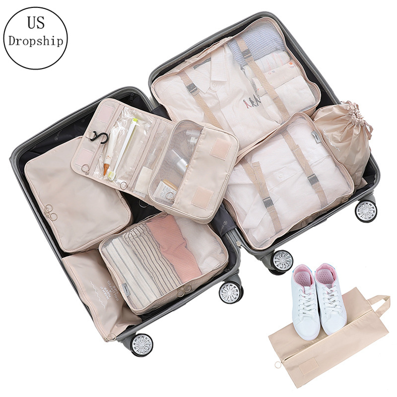 New 8Pcs/set Large Capacity Luggage Travel Bag Clothes Underwear Cosmetic Storage Bag Baggage Packing Suit Organizer Wash Bags