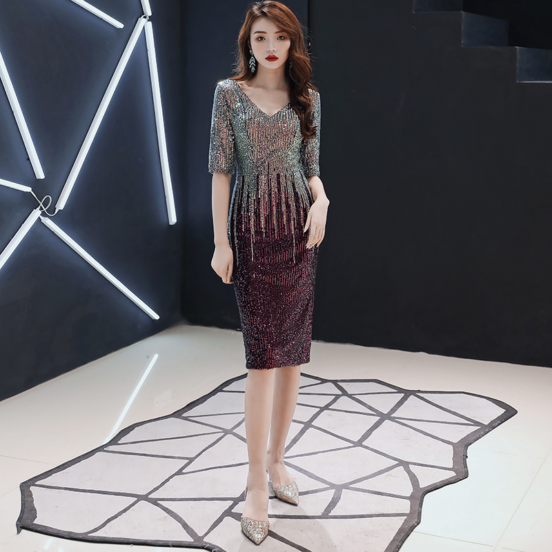 AE653 Womens Ladies Shiny Sequins V-Neck Half Sleeves Sexy Cocktail Dress Fashion Elegant Evening Gowns