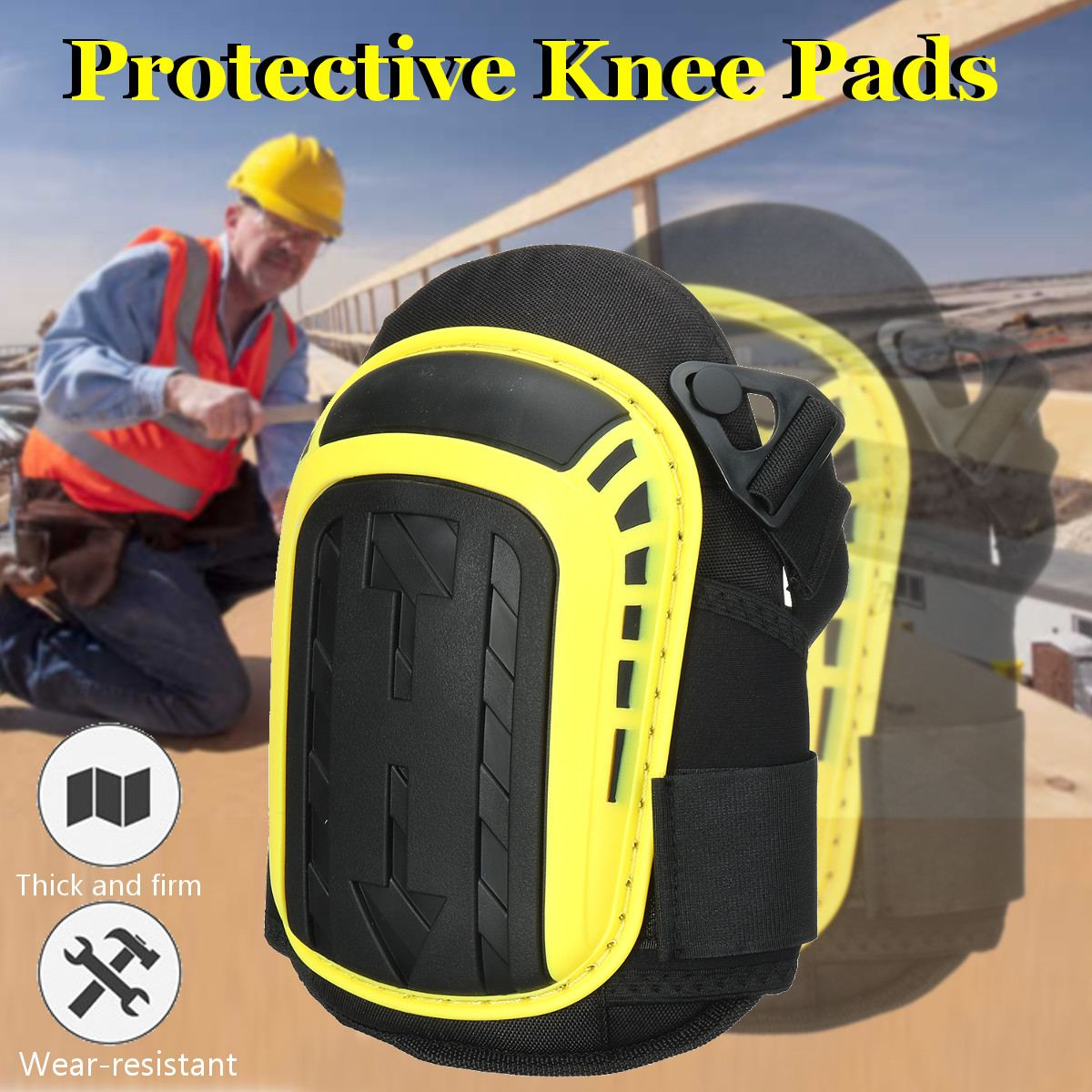 Gel Knee Pads For Work Gardening-Heavy Duty Professional Knee Pad With EVA Foam GEL Cushion For Construction Concrete