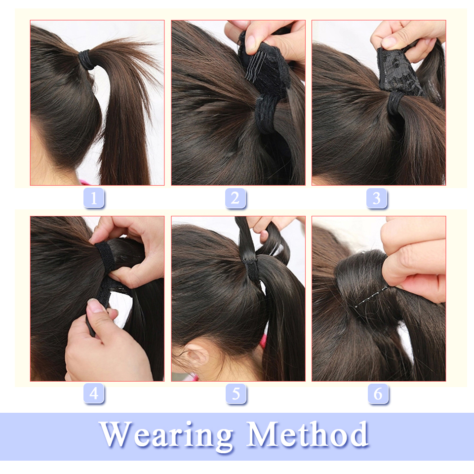 WTB Wrap Synthetic Ponytail Hair Extension Long Straight Women's Clip In Hair Extensions Pony Tail False Hair 22 Inch 3